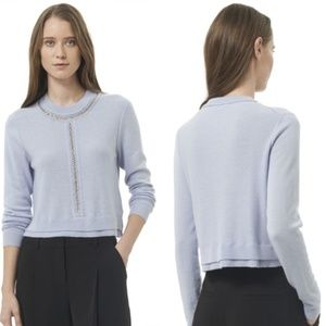 Rebecca Taylor Crop Chain Pullover Sweater Blue XS
